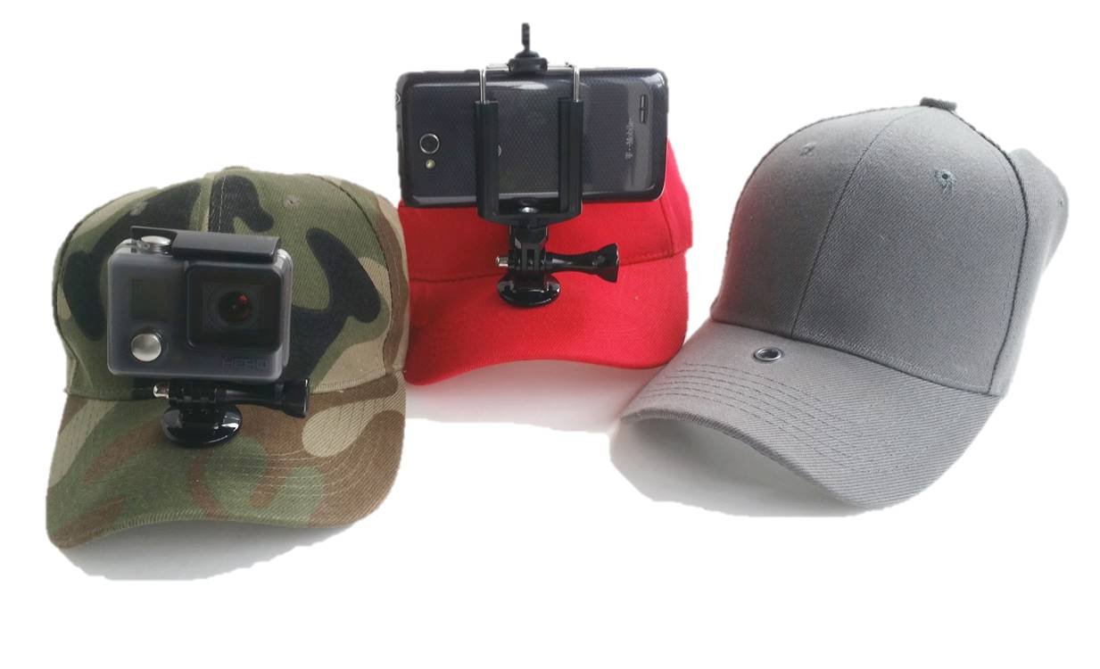 Three different choices for mounting an action camera to a hat brim