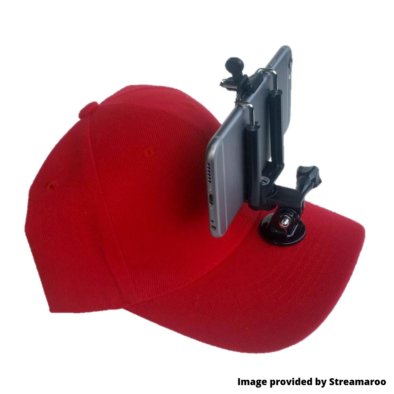 Red hiking hat with camera mount attached