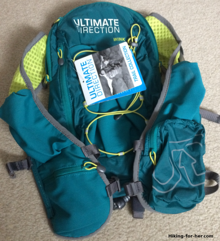 Women's minimalist day pack for trail running or hiking