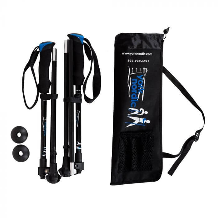 York Nordic folding walking poles with baskets and carrying case