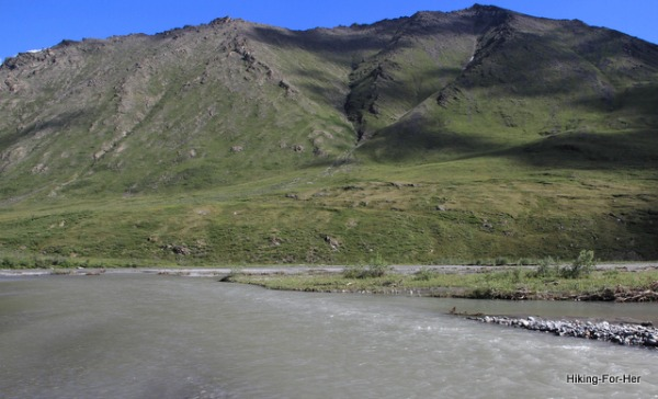The Canning River, ANWR Alaska and surrounding green hills