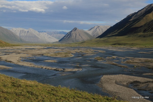 Braided river flowing through steep hills in ANWR Alaska