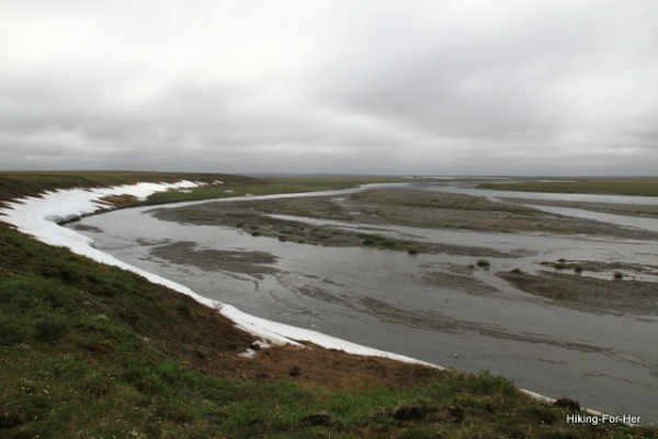 Foggy cold Canning River as it approaches the Arctic Ocean in ANWR Alaska