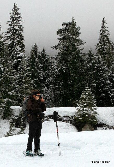 Female snowshoer with camera surrounded by snowy firs