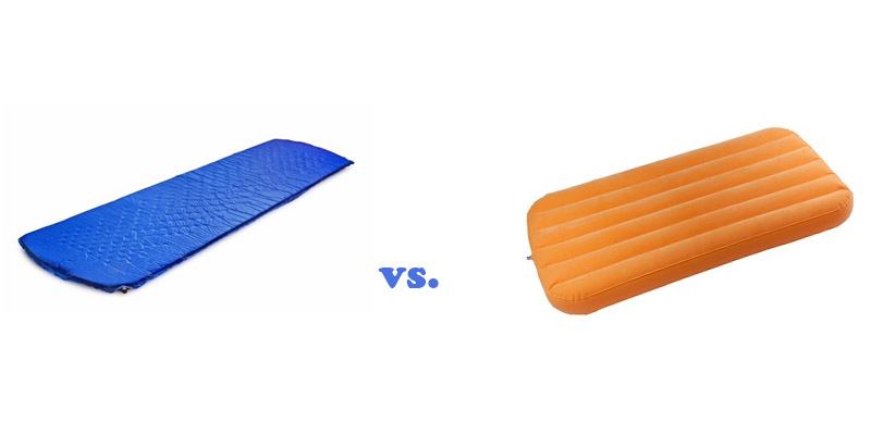 Comparison of sleeping pad with inflatable mattress