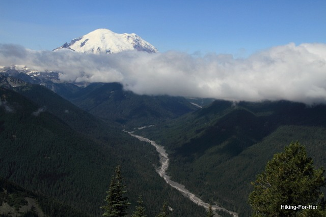 Snow capped Mt. Rainier and the glacial White River running down her flanks