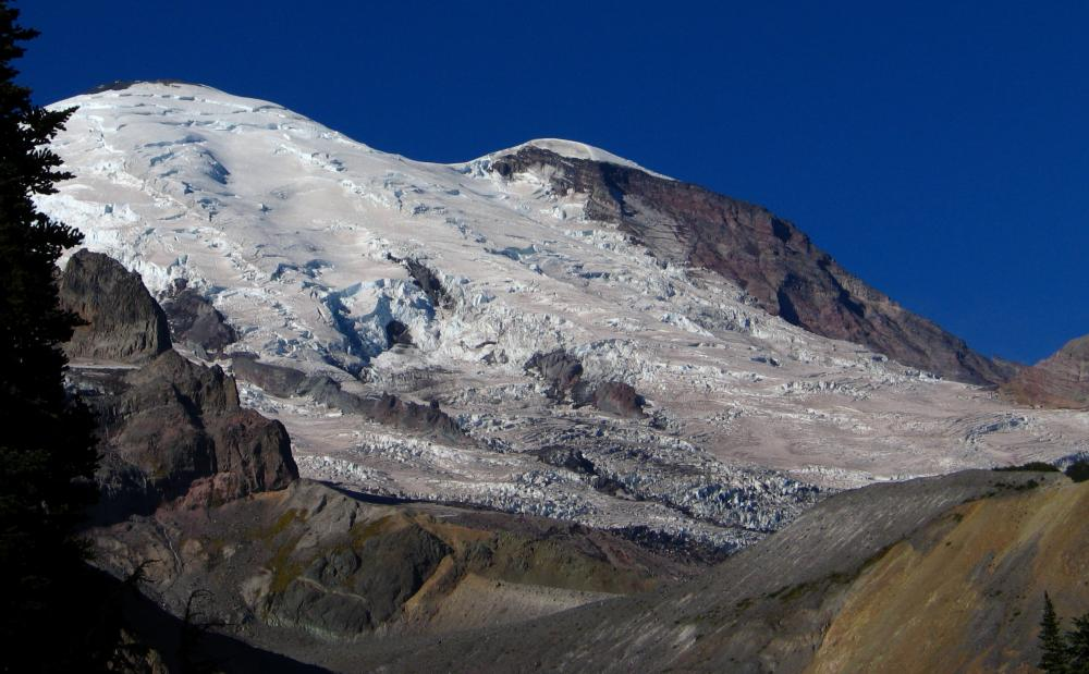 Mount Rainier's glacier capped beauty as seen from Summerland Trail