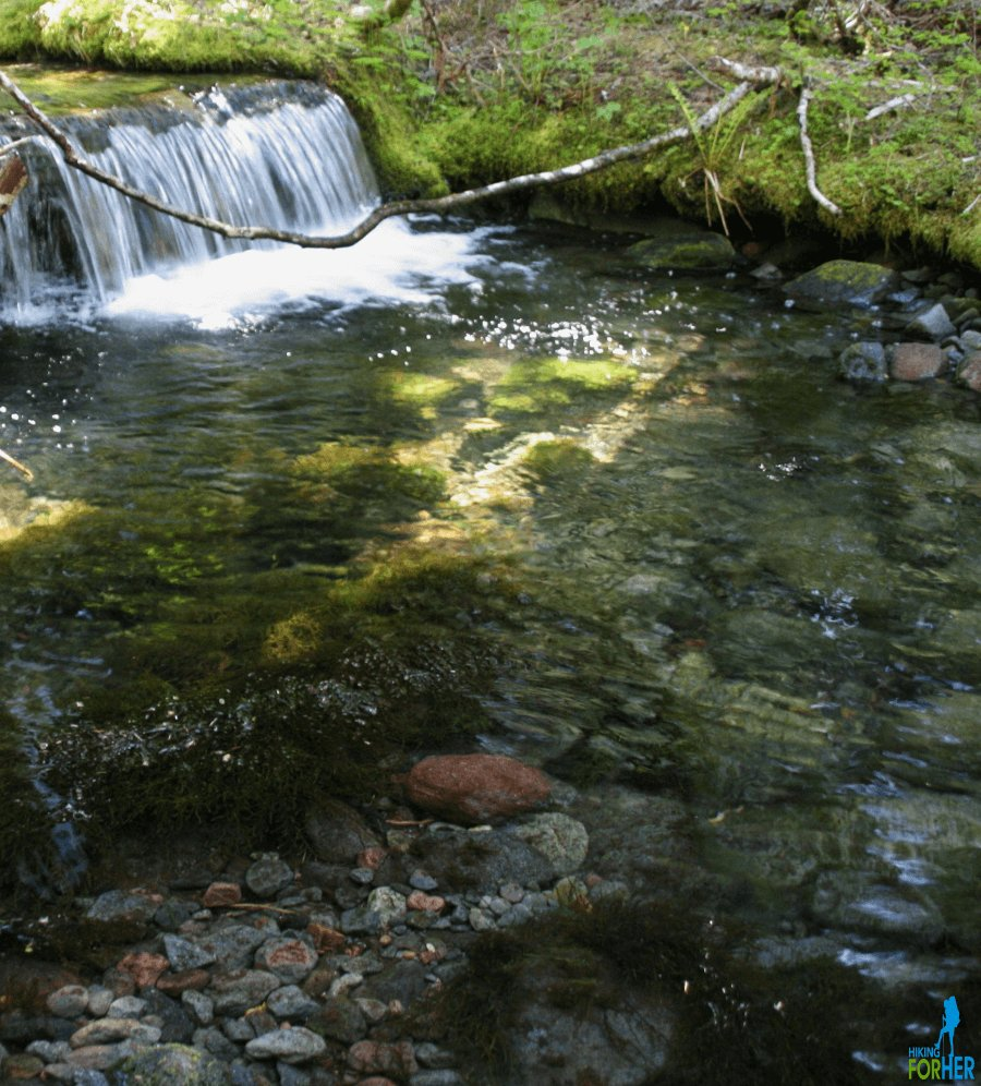 Paradise River small waterfall and plunge pool with impossibly clear water and river rocks