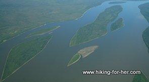 Mackenzie River, aerial view leaving Fort Simpson