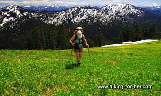 Female hiker with backpack and hiking poles, crossing a flower strewn meadow with snowy mountains in background