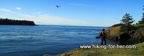 Hiking along the ocean on a rocky coast