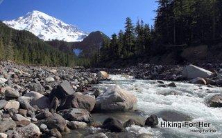 Roaring mountain stream with Mt. Rainier in background