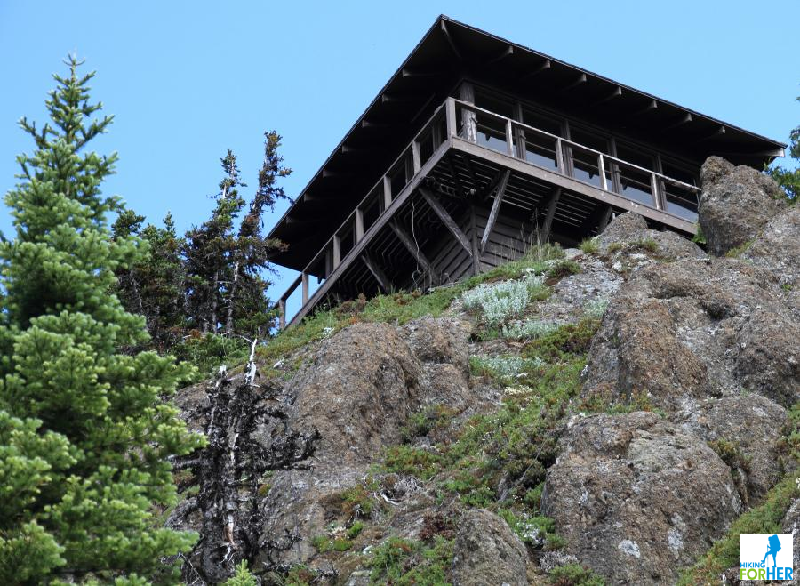Fire lookout perched on top of Gobbler's Knob near Mount Rainier National Park