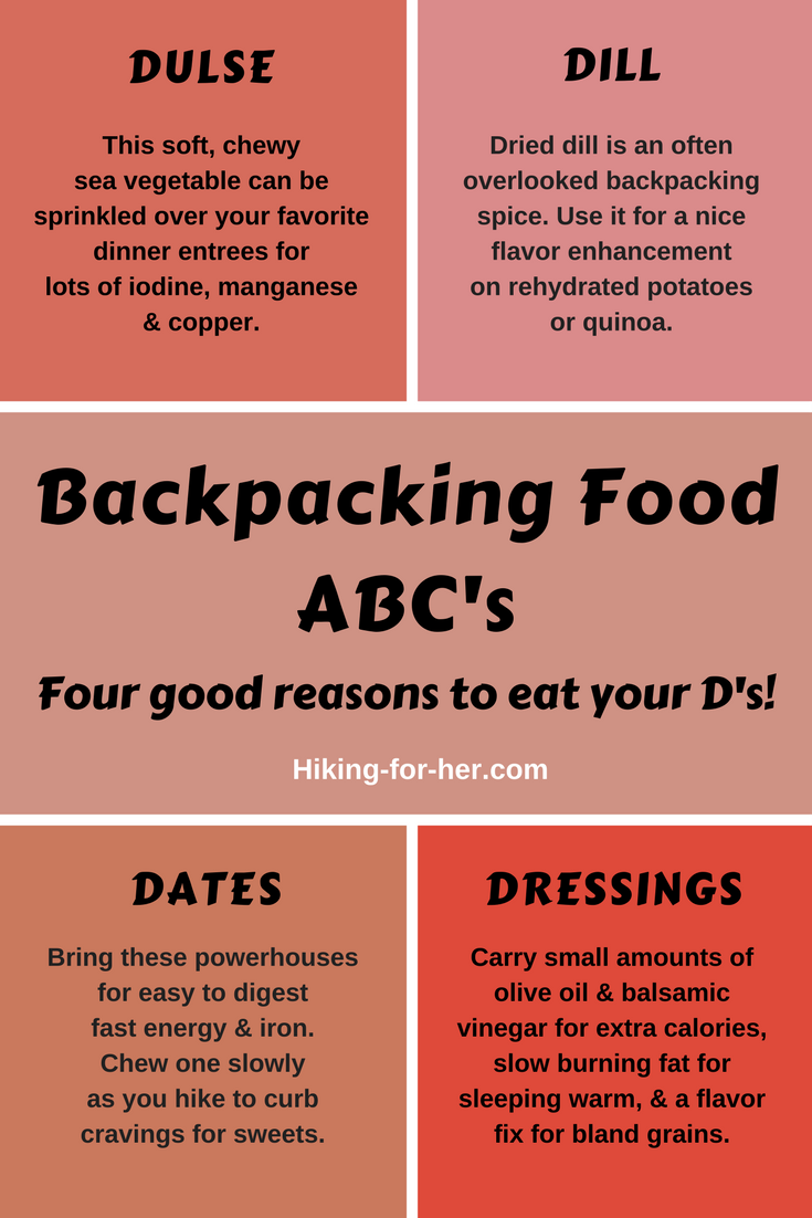 What do dulse, dill, dates and dressing have to do with backpacking? Find out at Hiking For Her, and liven up your backpacking menus. #backpacking #hiking #backpacking food
