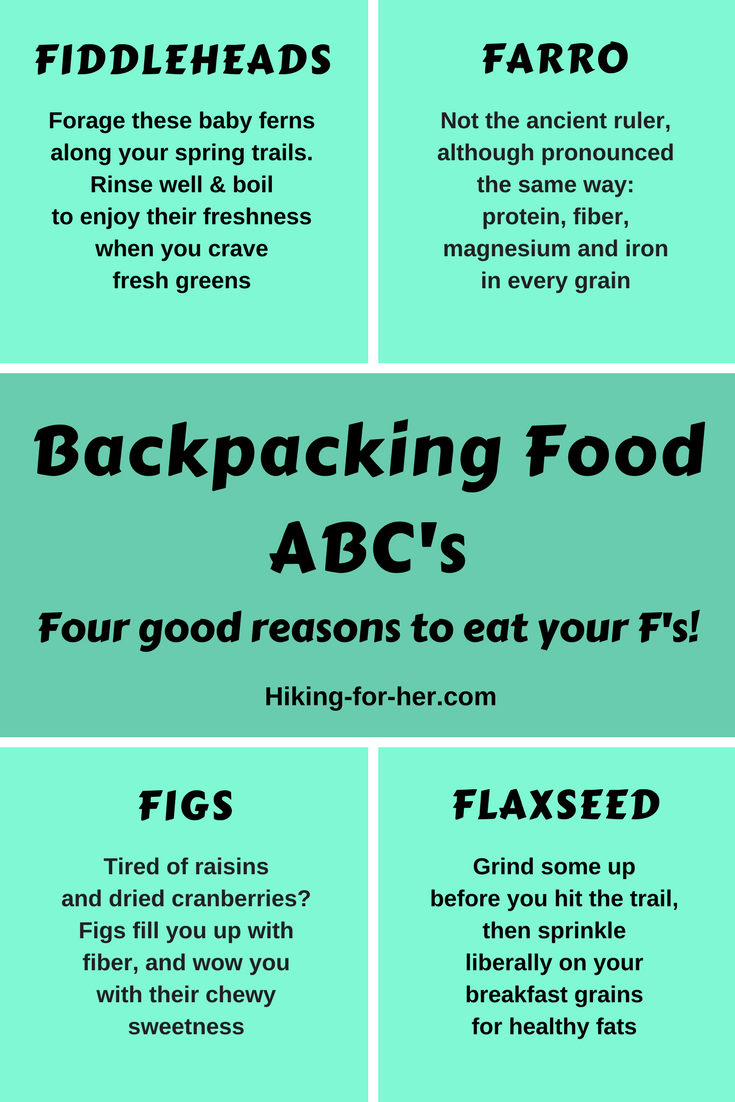 What do fiddleheads, farro, figs, and flaxseed have to do with backpacking? Find out at Hiking For Her, and shake up your trail food. #backpacking #hikingfood #hiking #trailfood