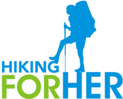 Hiking For Her blue and green logo of female hiker with backpack and trekking pole