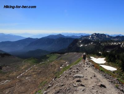 Female hiker on alpine trail