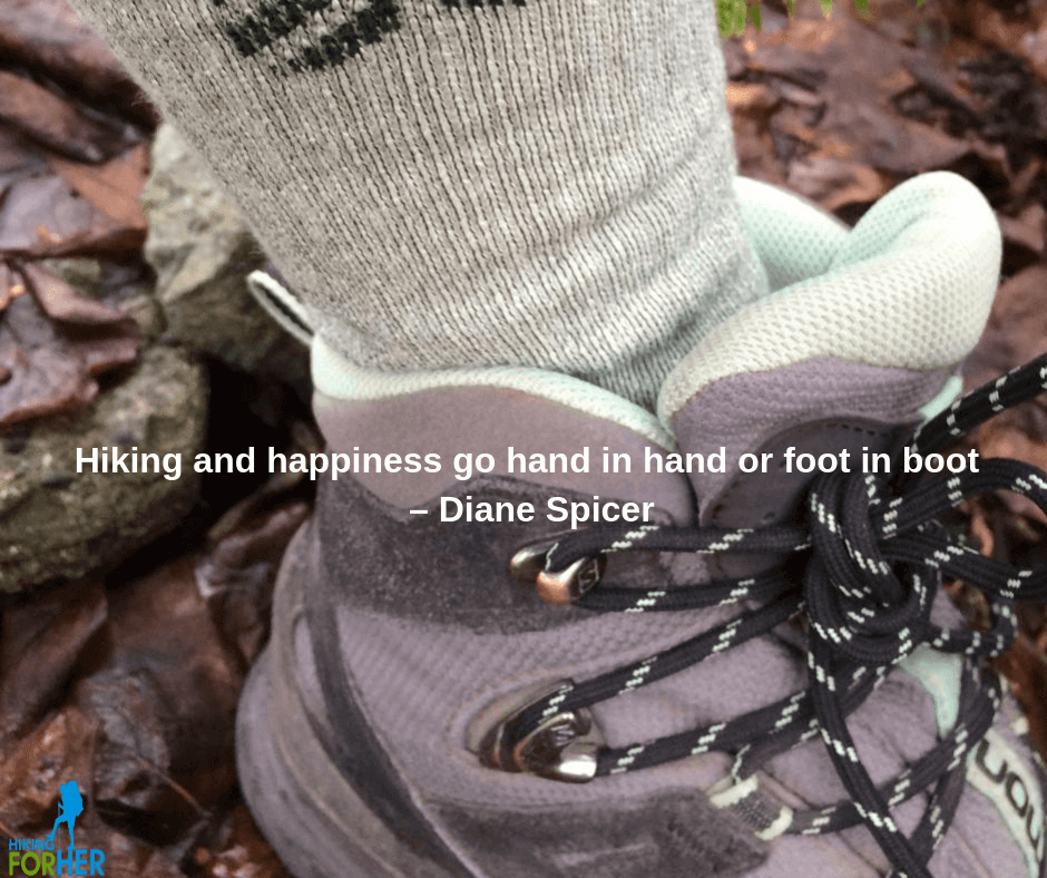 Hiking For Her quote about hiking happiness #hikingquote #hiking #backpacking #femalehikers #hikers #besthiking quote