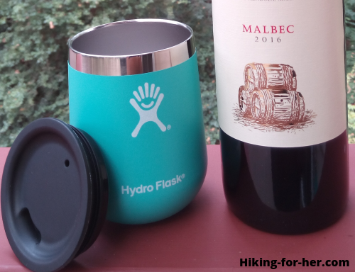 Hydroflask cup and wine bottle