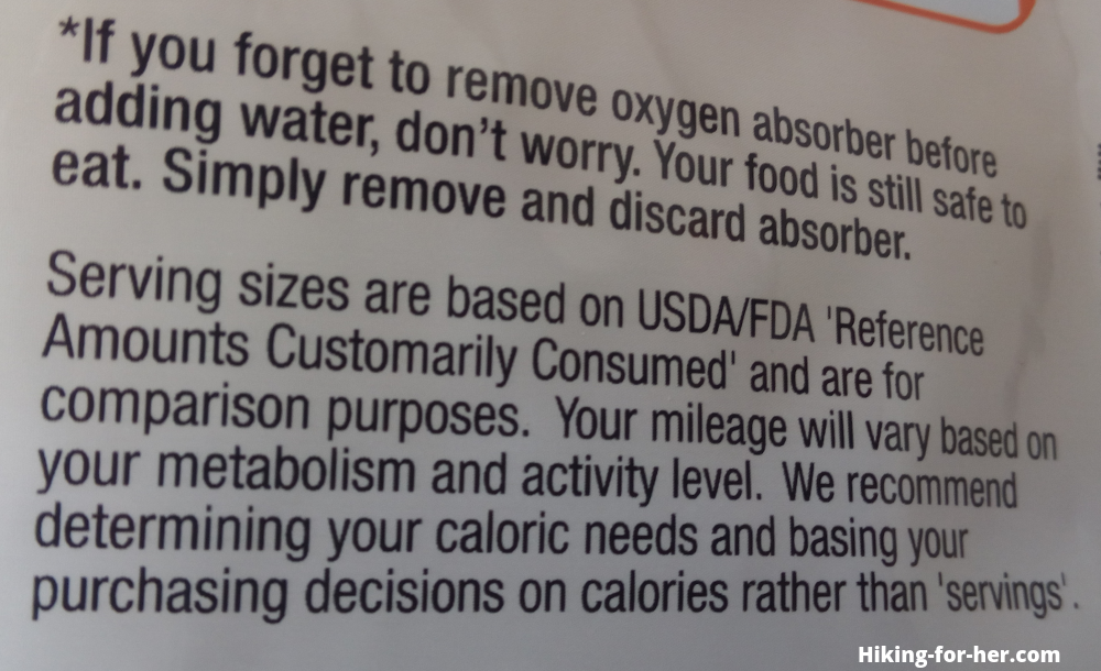 Caution label: remove oxygen absorber before rehydrating your freeze dried meal