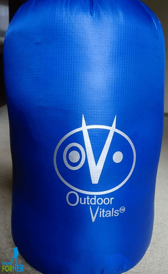 Outdoor Vitals ultralight backpacking top quilt stuff sack with logo