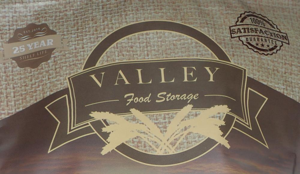 Valley Food Storage logo on a freeze dried backpacking food package