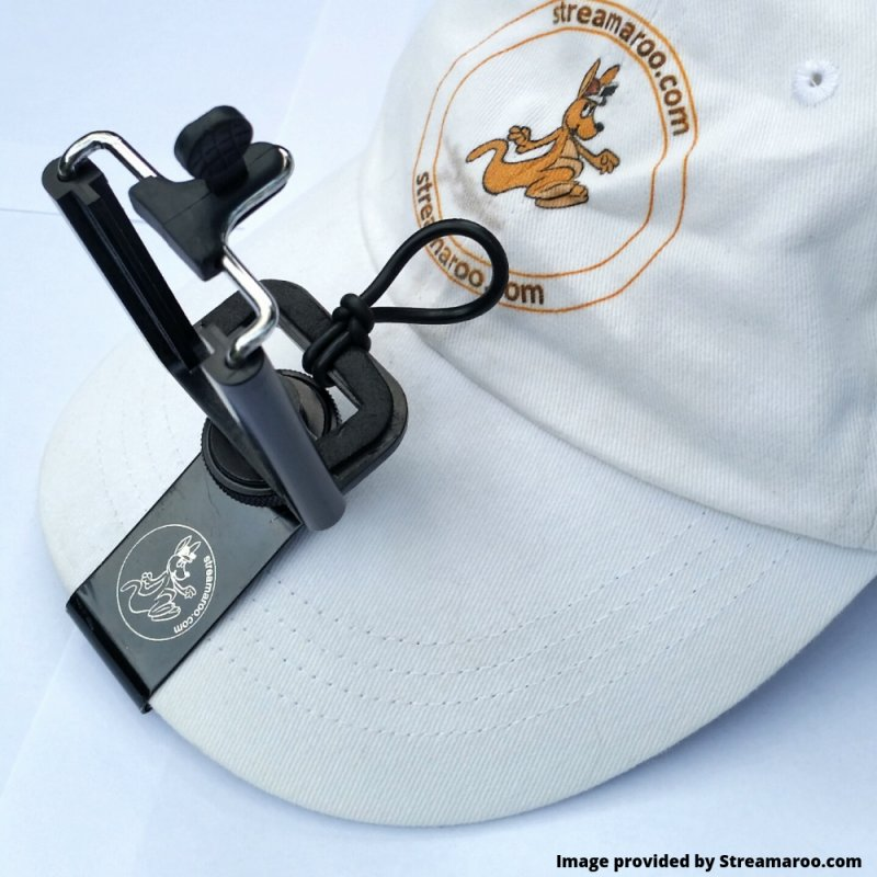 Streamaroo clip on phone mount for attaching a smartphone to a ball cap