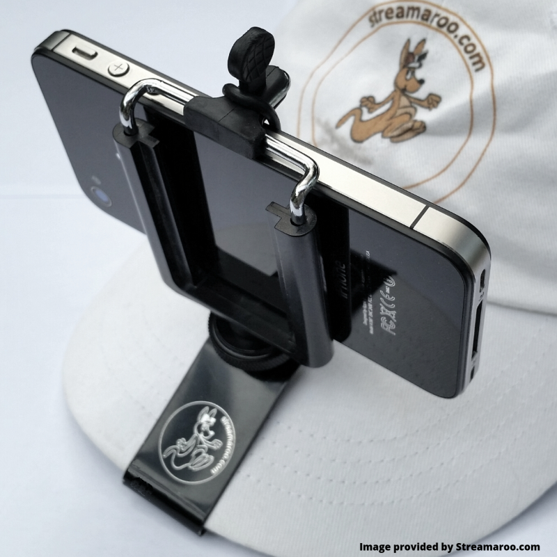 Streamaroo smartphone mount holding a phone on a hiking hat