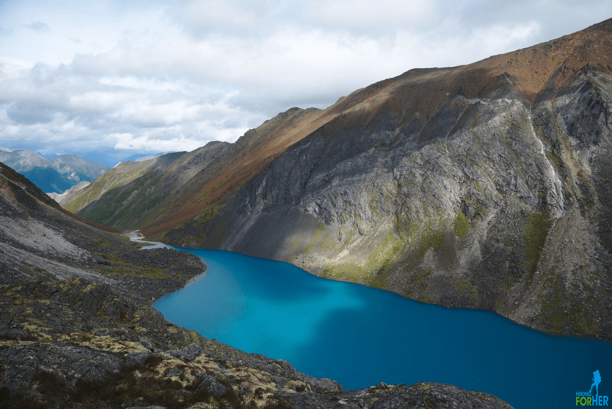 Deep blue lake surrounded by mountains