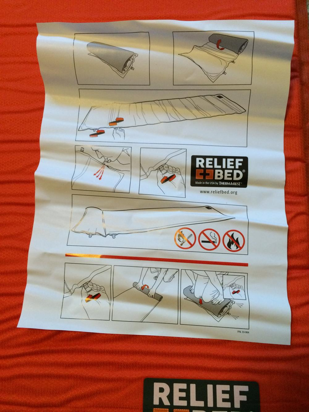 Thermarest Relief Bed inflating instructions