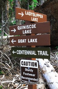 Lots of hiking trail signs on one sign post, offering many options for hikers to explore