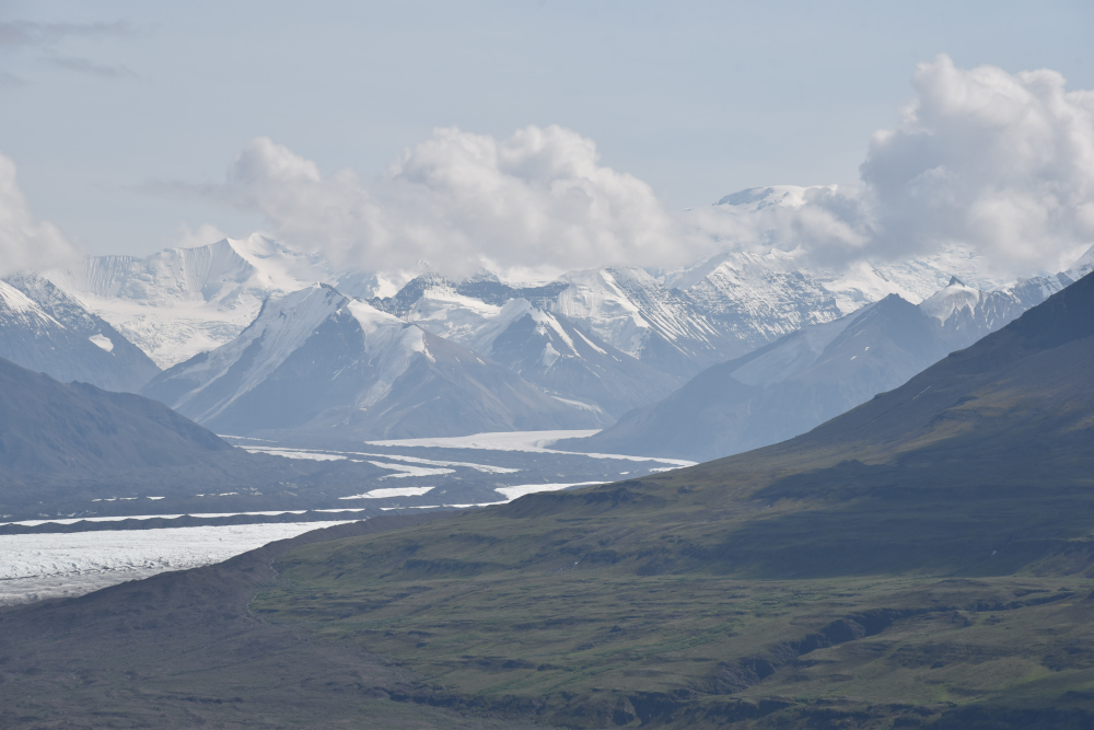Russell Glacier with snow capped mountains in the background, Skolai, Wrangell St Elias in Alaska
