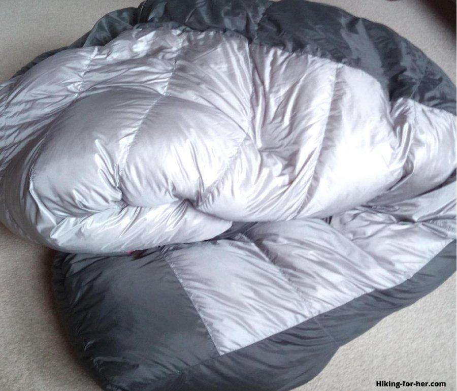 Gray down filled women's sleeping bag