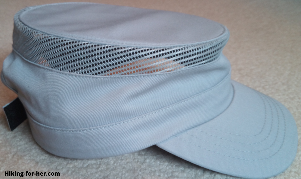 Gray flat top hiking hat with mesh for ventilation