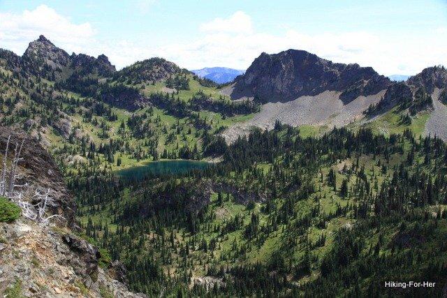 Blue alpine lake and ridges