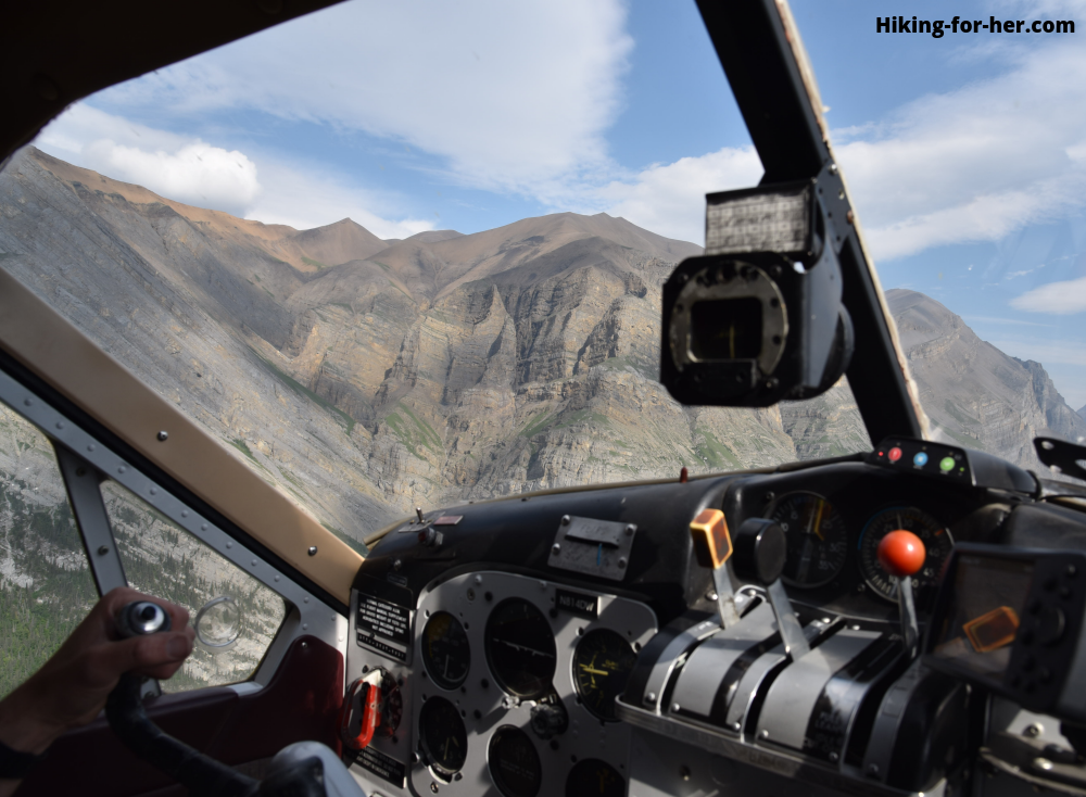 Rugged mountains viewed from the cockpit of a bush plane in Wrangell St Elias National Park and Preserve in Alaska